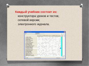 Каждый учебник состоит из: конструктора уроков и тестов; сетевой версии; эле