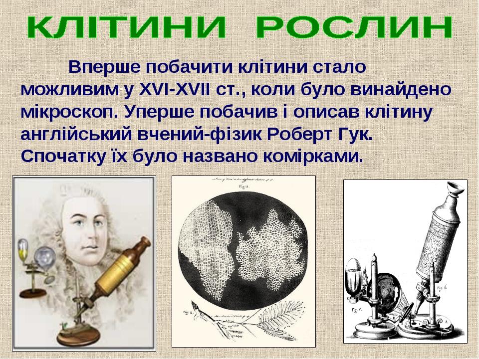 Вперше побачити клітини стало можливим у ХVІ-ХVІІ ст., коли було винайдено м...