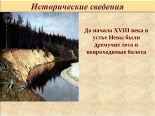 До начала XVIII века в устье Невы были дремучие леса и непроходимые болота