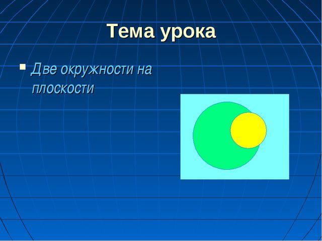 Тема урока Две окружности на плоскости