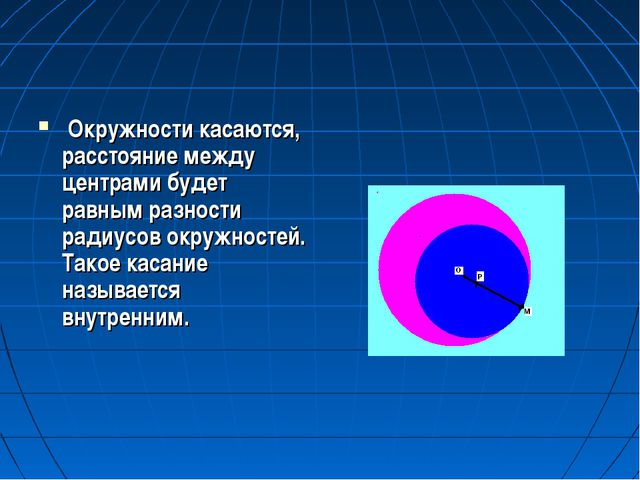 Окружности касаются, расстояние между центрами будет равным разности радиусо...