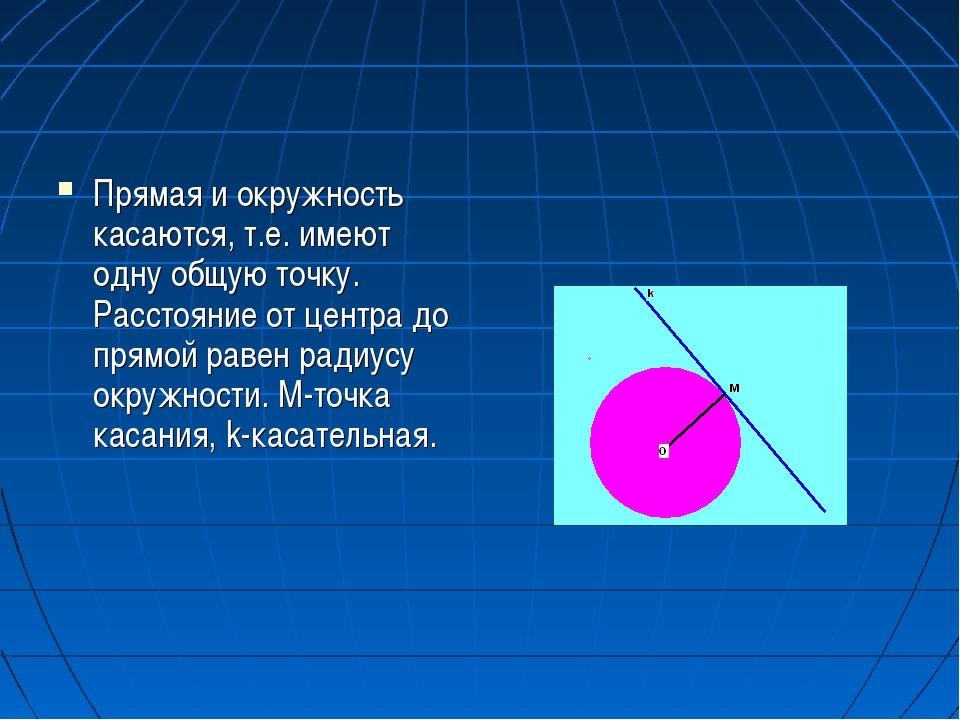 Прямая и окружность касаются, т.е. имеют одну общую точку. Расстояние от цент...