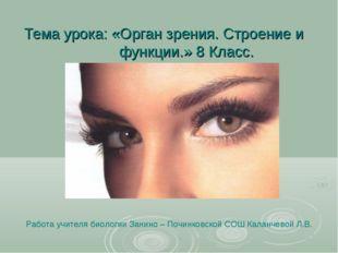 Тема урока: «Орган зрения. Строение и функции.» 8 Класс. Работа учителя биоло