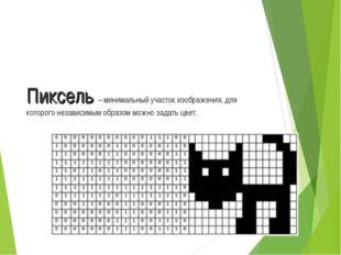 Пиксель – минимальный участок изображения, для которого независимым образом м