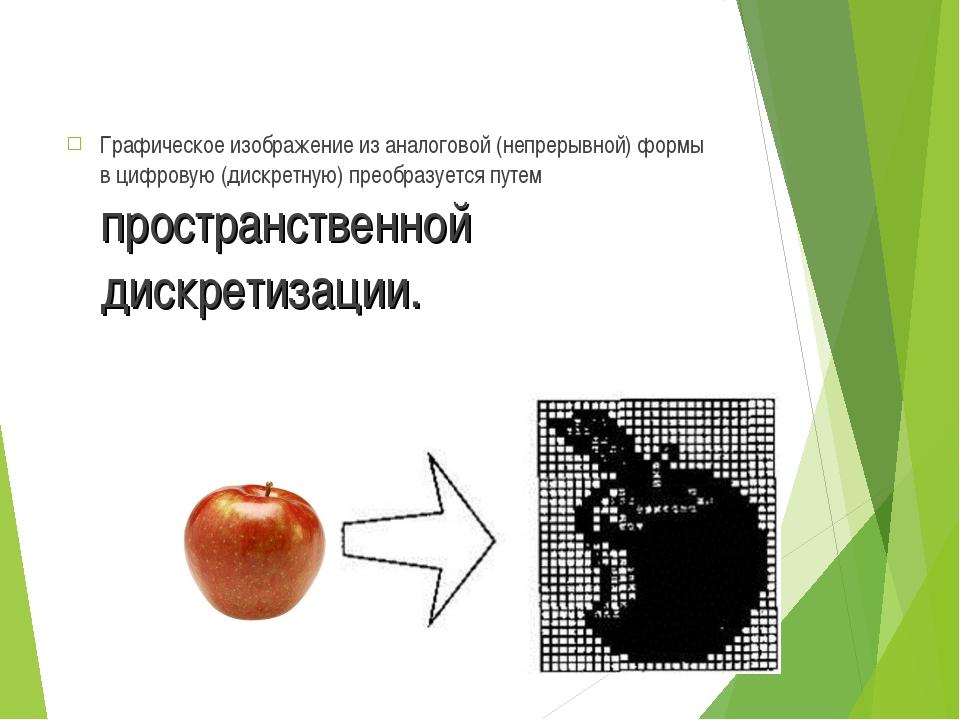 Графическое изображение из аналоговой (непрерывной) формы в цифровую (дискрет...