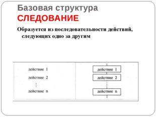 Базовая структура СЛЕДОВАНИЕ Образуется из последовательности действий, следу