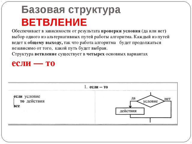 Базовая структура ВЕТВЛЕНИЕ Обеспечивает в зависимости от результата проверки...