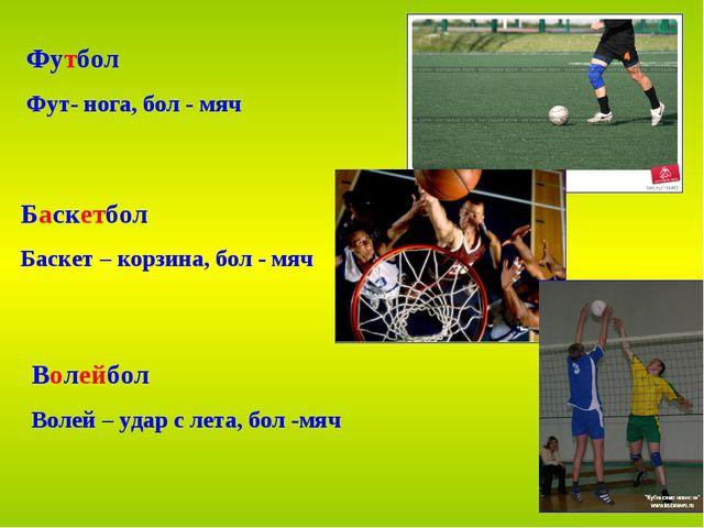 Футбол Фут- нога, бол - мяч Баскетбол Баскет – корзина, бол - мяч Волейбол Во...