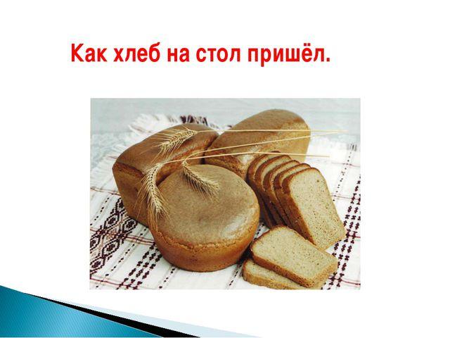 Как хлеб на стол пришёл.