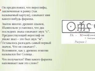 Он предположил, что иероглифы, заключенные в рамку (так называемый картуш), о