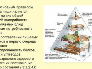 Основным правилом приема пищи является соответствие общей дневной калорийнос