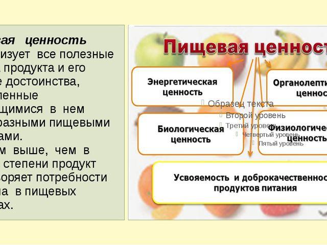 Пищевая ценность характеризует все полезные свойства продукта и его вкусовые...