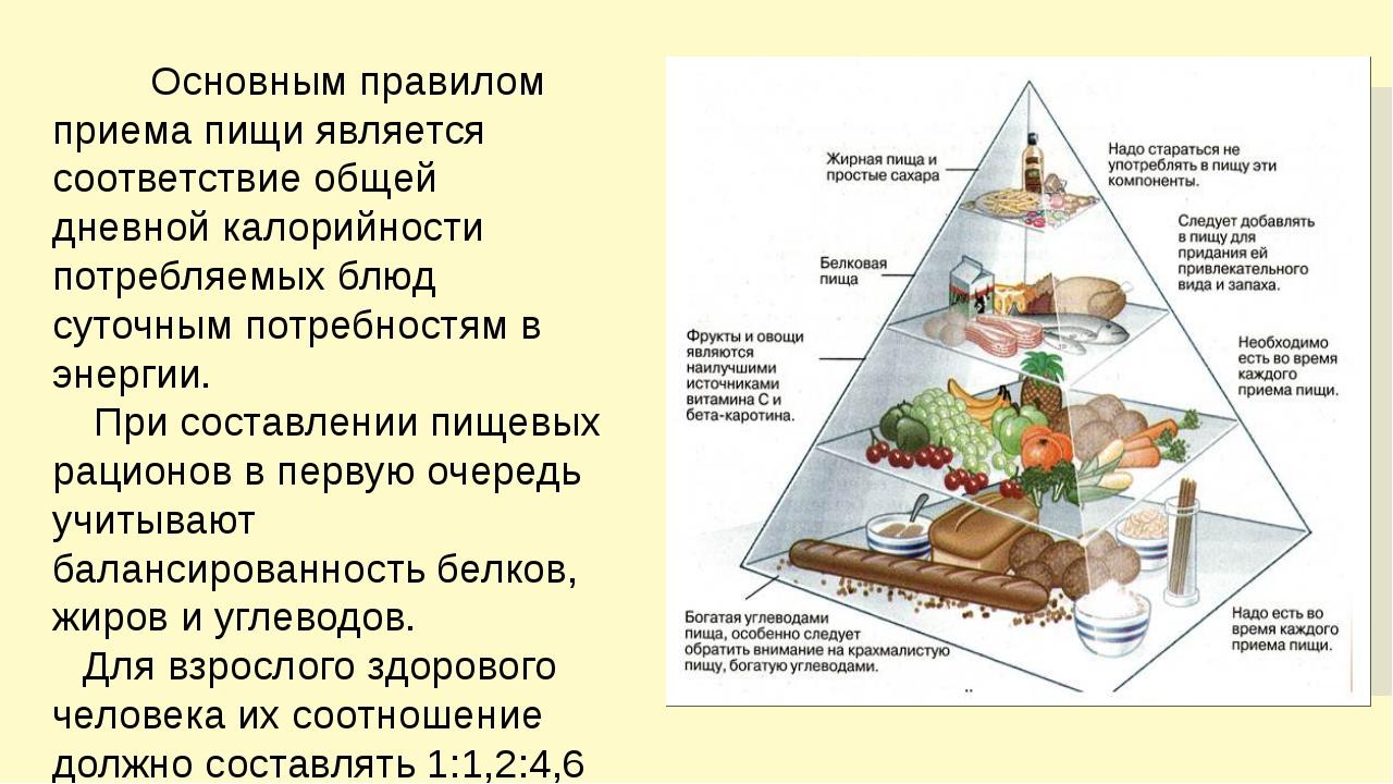 Основным правилом приема пищи является соответствие общей дневной калорийнос...