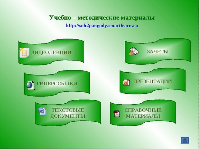 Учебно – методические материалы http://soh2pangody.smartlearn.ru ВИДЕОЛЕКЦИИ...