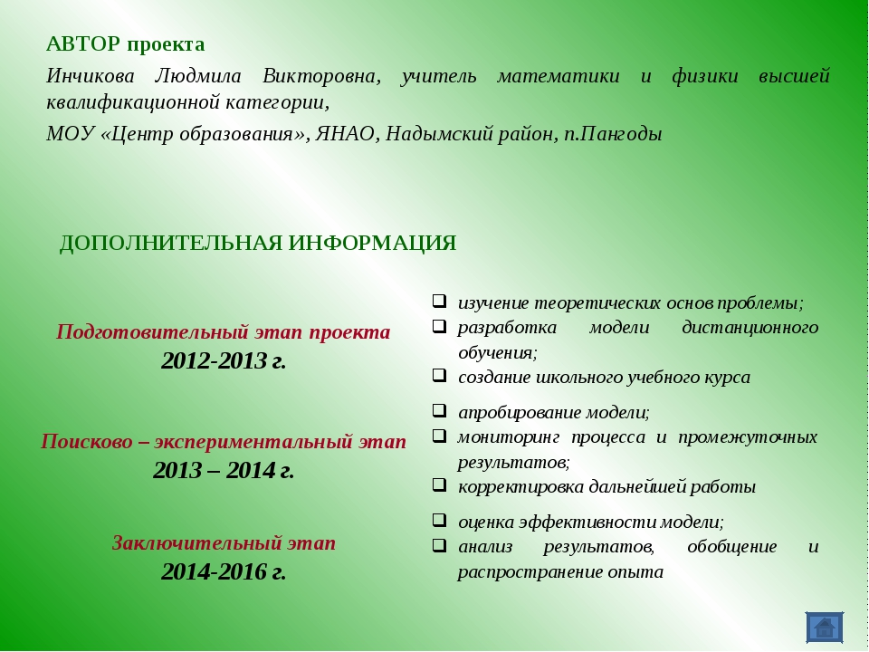 АВТОР проекта Инчикова Людмила Викторовна, учитель математики и физики высшей...