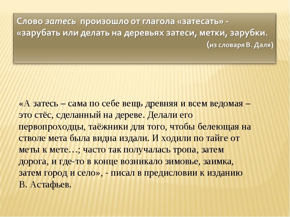«А затесь – сама по себе вещь древняя и всем ведомая – это стёс, сделанный н...