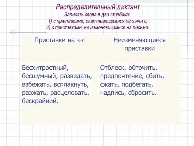 Распределительный диктант Записать слова в два столбика: 1) с приставками, о...