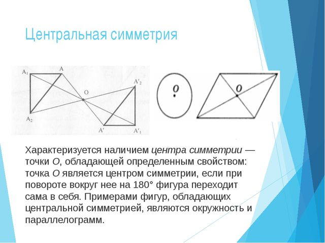 Центральная симметрия Характеризуется наличием центра симметрии — точки O, об...