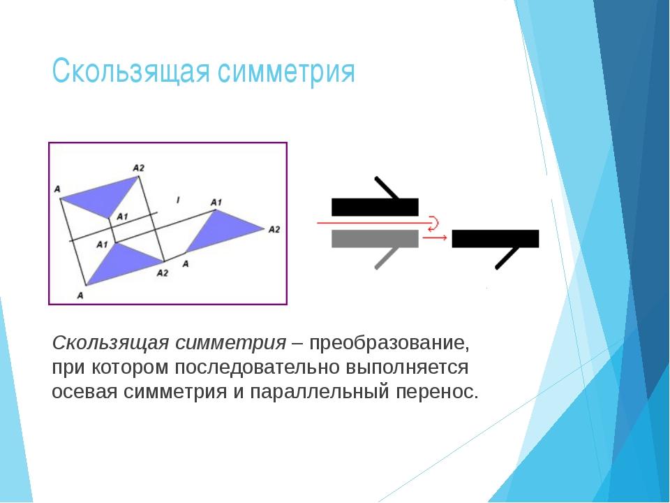 Скользящая симметрия Скользящая симметрия – преобразование, при котором после...