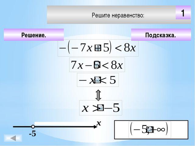 Подсказка. Решение. х 1 Решите неравенство: 4 Чтобы визуализировать ответ на...