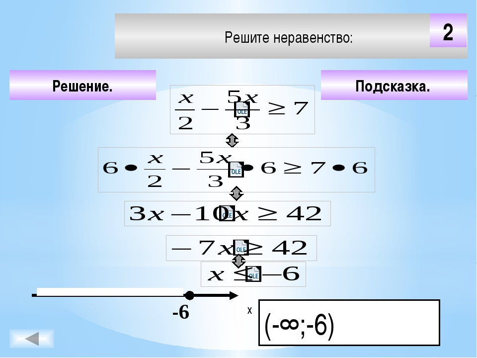 Решите неравенство: Подсказка. Решение. х 5 -2 Чтобы визуализировать ответ на...