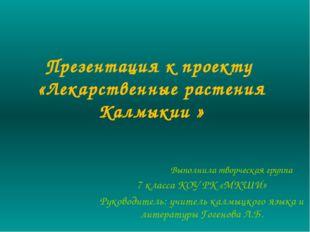 Презентация к проекту «Лекарственные растения Калмыкии » Выполнила творческая