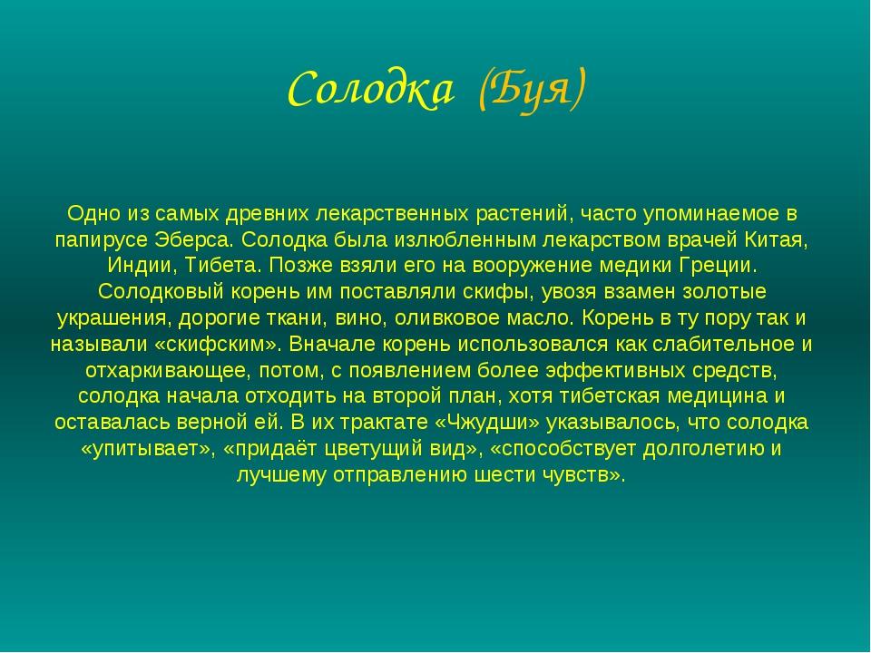 Солодка (Буя) Одно из самых древних лекарственных растений, часто упоминаемое...
