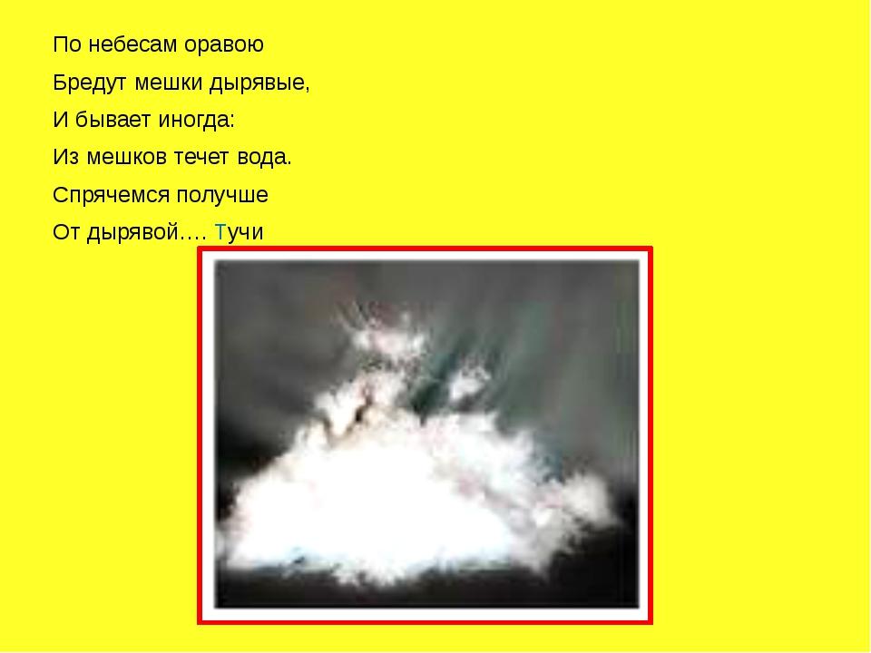 По небесам оравою Бредут мешки дырявые, И бывает иногда: Из мешков течет вод...