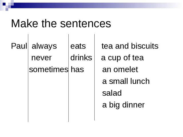 Make the sentences Paul always eats tea and biscuits never drinks a cup of...