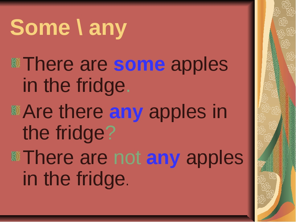 Some \ any There are some apples in the fridge. Are there any apples in the f...