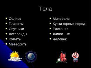 Тела Солнце Планеты Спутники Астероиды Кометы Метеориты Минералы Куски горных
