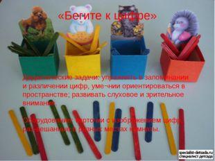 Дидактические задачи: упражнять в запоминании и различении цифр, уме¬нии ори