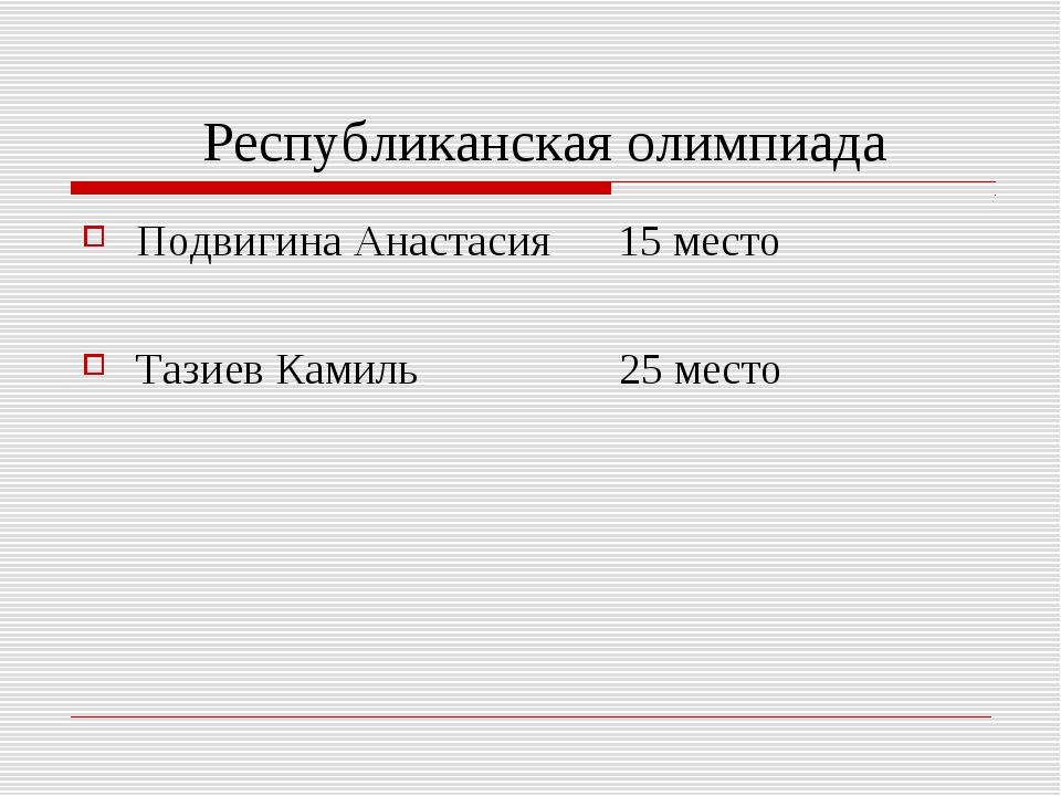 Республиканская олимпиада Подвигина Анастасия 15 место Тазиев Камиль 25 место