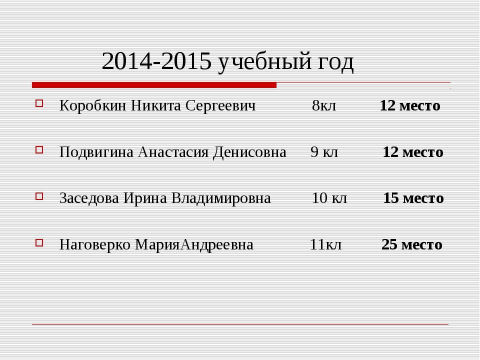 2014-2015 учебный год Коробкин Никита Сергеевич 8кл 12 место Подвигина Анаст...