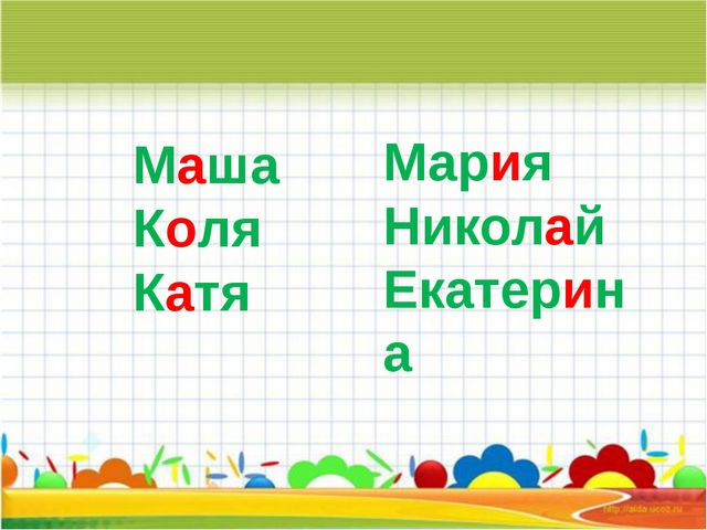Маша Коля Катя Мария Николай Екатерина