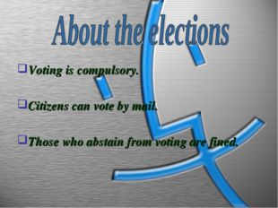 Voting is compulsory. Citizens can vote by mail. Those who abstain from votin