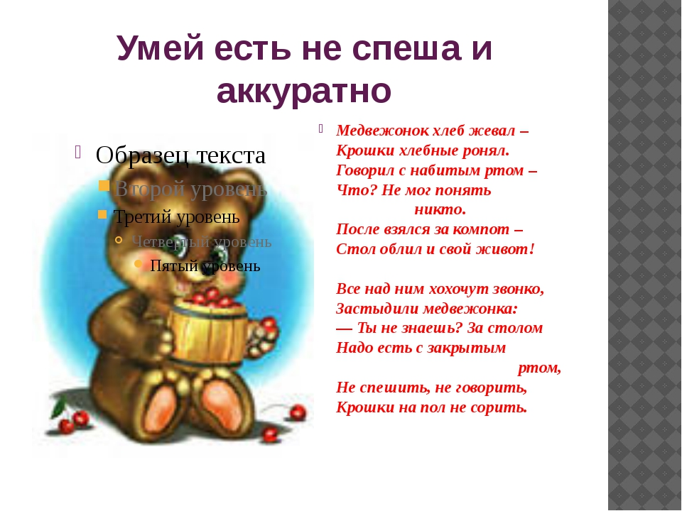 Умей есть не спеша и аккуратно Медвежонок хлеб жевал – Крошки хлебные ронял....