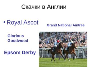 Скачки в Англии Royal Ascot Grand National Aintree Glorious Goodwood Epsom De