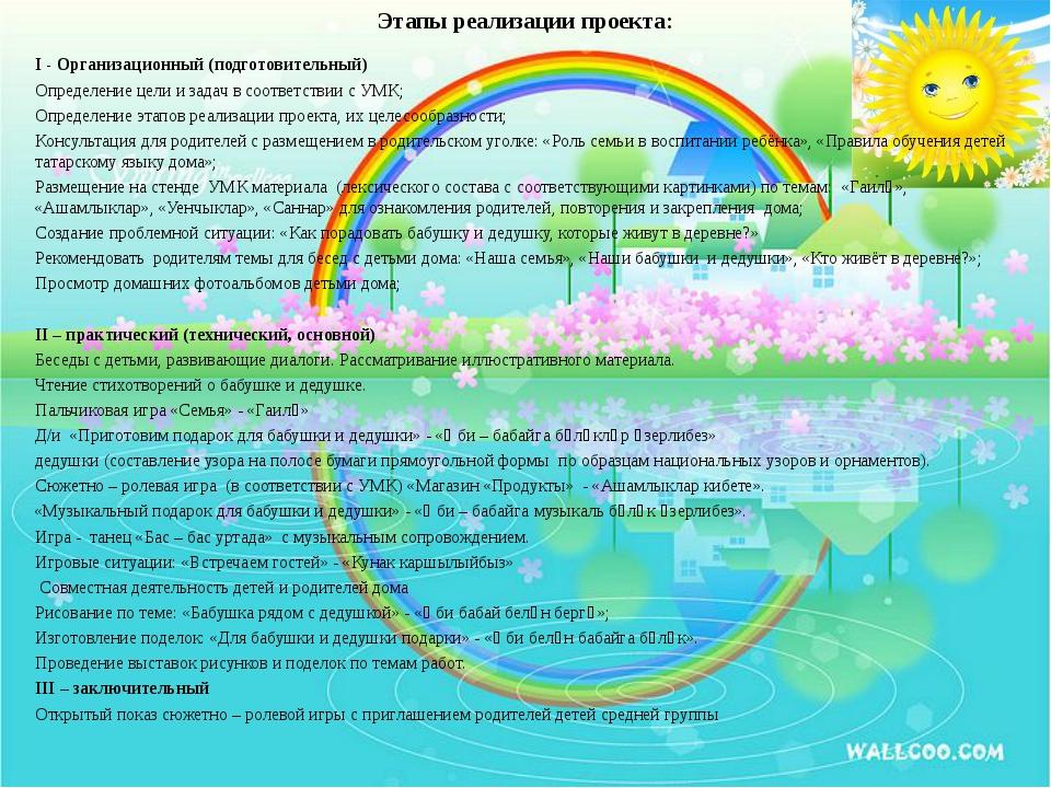 Этапы реализации проекта: I - Организационный (подготовительный) Определение...