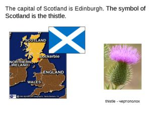 The capital of Scotland is Edinburgh. The symbol of Scotland is the thistle.