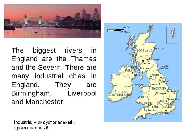 The biggest rivers in England are the Thames and the Severn. There are many i...