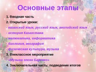 Основные этапы 1. Вводная часть 2. Открытые уроки: - казахский язык, русский