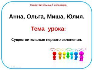 Анна, Ольга, Миша, Юлия. Существительные 1 склонения. Тема урока: Существител