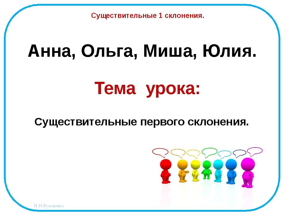 Анна, Ольга, Миша, Юлия. Существительные 1 склонения. Тема урока: Существител...