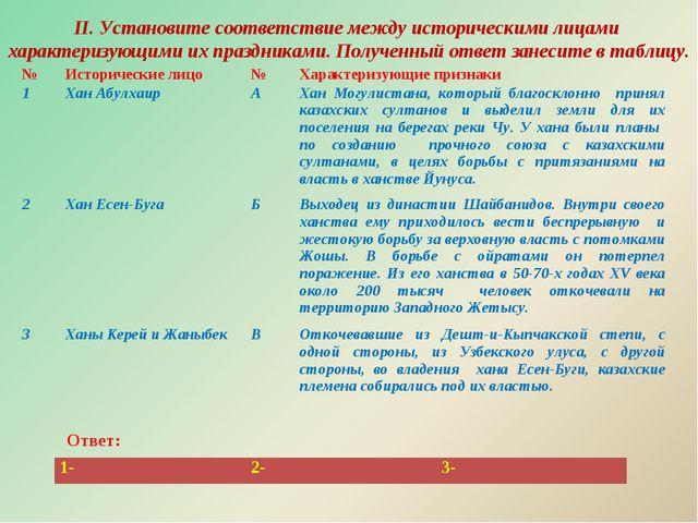 II. Установите соответствие между историческими лицами характеризующими их пр...