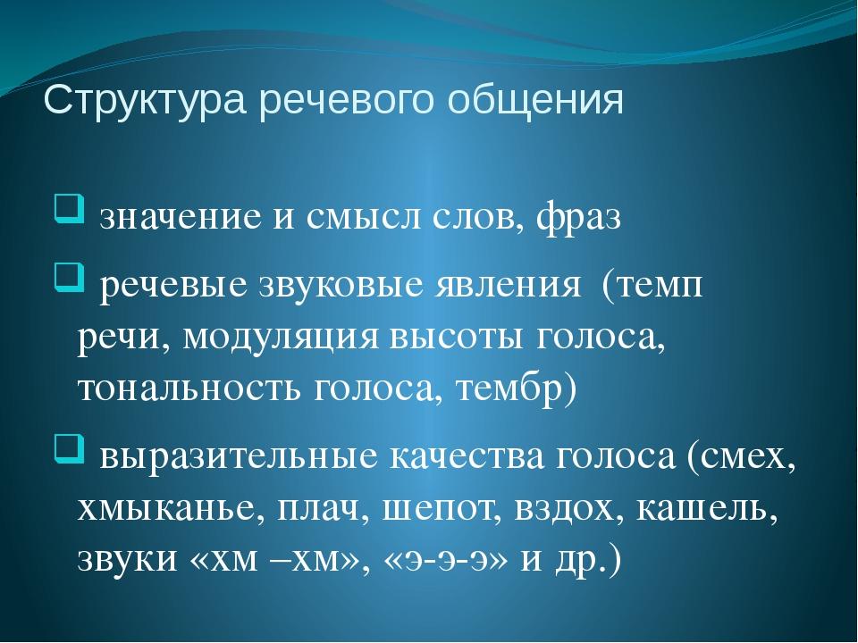 Структура речевого общения значение и смысл слов, фраз речевые звуковые явлен...