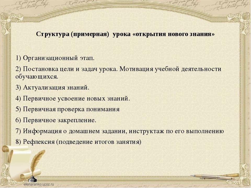 Структура (примерная) урока «открытия нового знания» 1) Организационный этап....