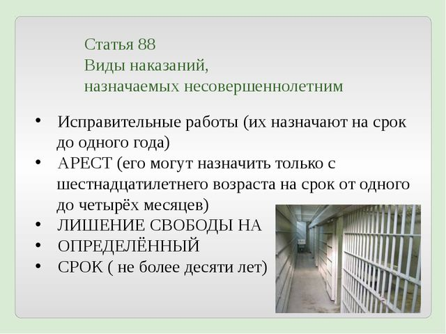 Статья 88 Виды наказаний, назначаемых несовершеннолетним Исправительные работ...