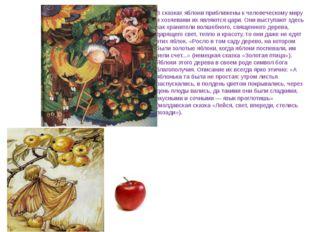 В сказках яблони приближены к человеческому миру и хозяевами их являются цар