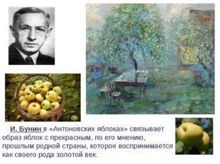 И. Бунин в «Антоновских яблоках» связывает образ яблок с прекрасным, по его